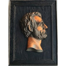 Item #0261 -  Vintage Abraham Lincoln Copper Bust on Frame from Lincoln Home