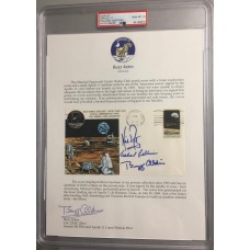Item # 0013 - Apollo 11 - Crew Signed FDC Insurance With Buzz Aldrin Signed Collection Letter - PSA Graded Gem Mint 10