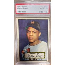 Item #0262 - 1952 Topps #261 Willie Mays Rookie Card  PSA 6 EX-MT Pack Fresh