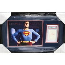 """Item #0243 - George Reeves -  """"Adventures of Superman"""" - Framed Remnant Piece of his Superman Cape and Signed Card - SOLD"""