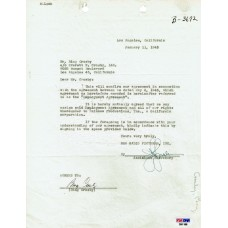Bing Crosby - Signed 1945 Agreement Letter (PSA)
