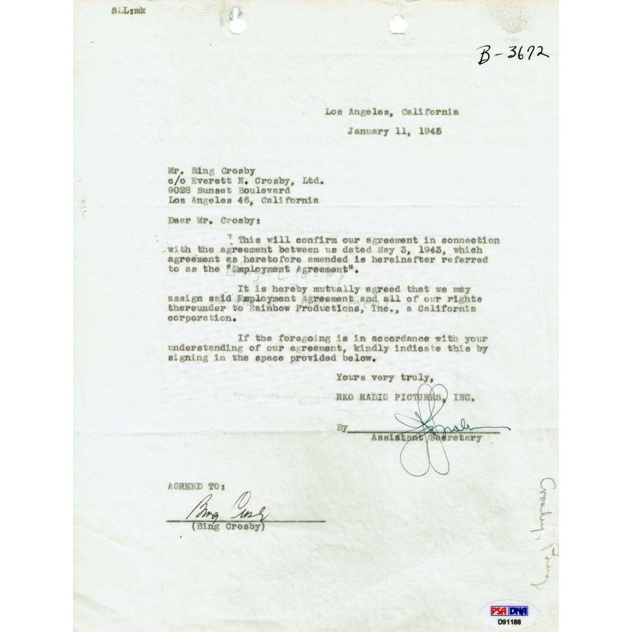 Bing Crosby Signed 1945 Agreement Letter