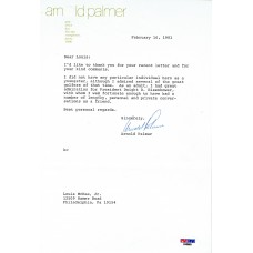 Item # 0017 - Arnold Palmer - Signed 1981 Appreciation Letter - PSA - SOLD!