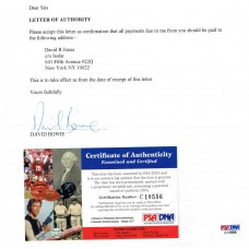 David Bowie - Signed Letter of Authority (PSA)