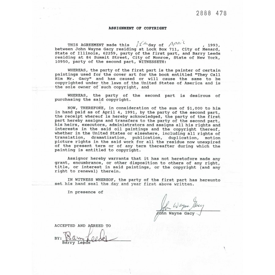 John Wayne Gacy Signed 1993 Agreement Letter