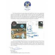 Apollo 11 - Crew Signed FDC With Buzz Aldrin Signed Collection Letter (PSA)