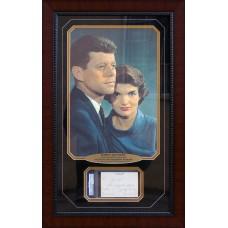 Item # 0113 - John F. Kennedy & Jacqueline Kennedy - Signed Note Cut - PSA