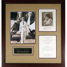 Item # 0010 - Amelia Earhart - Signed Photo and Piece of Plane - PSA