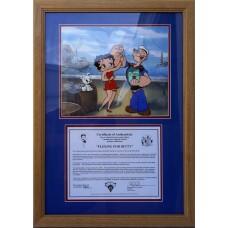 Item # 0143 - Myron Waldman - Signed Cel of Popeye & Betty Boop - PSA