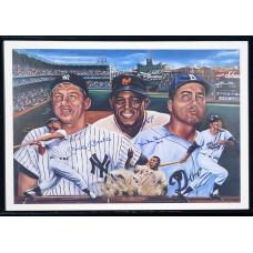 Item # 0221 - Willie Mays Mickey Mantle, Duke Snider - Signed Poster - PSA