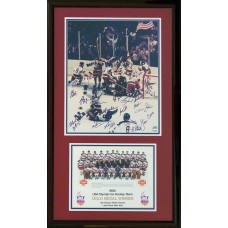 1980 USA Olympic Hockey - Team (21x) Signed Photo Includes Rare Signature of Coach Herb Brooks  - (PSA)